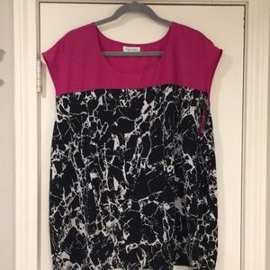 Calvin Klein Pink and Black Marble Blouse - 16W